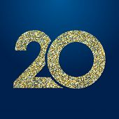 20 Th Years Old Logotype. Isolated Golden Color Abstract Dot Graphic Symbol Of 20%. Shiny Straight E poster