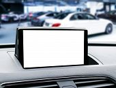Monitor In Car With Isolated Blank Screen Use For Navigation Maps And Gps. Isolated On White With Cl poster