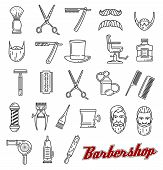 Barbershop Outline Line Art Icons. Beard And Mustache, Barber Tools Shaving Razor Or Scissors, Hairb poster