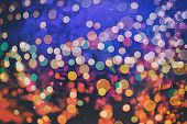 Abstract Blurred Of Blue And Silver Glittering Shine Bulbs Lights Background:blur Of Christmas Wallp poster