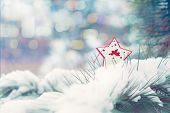 Christmas Winter Holiday Greeting Card.  Red Star With Xmas Angel On Green Christmas Trees With Snow poster