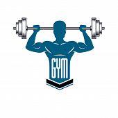 Bodybuilding Weightlifting Gym Logotype Sport Club, Retro Style Vector Emblem. With Sportsman Silhou poster