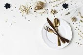 New Year, Christmas Styled Glamorous Black And Gold Table Setting With Plate, Goldenware, Confetti S poster