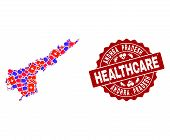 Healthcare Composition Of Bright Medical Mosaic Map Of Andhra Pradesh State And Scratched Seal. Vect poster