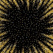Round Gold Glitter Luxury Sparkling Confetti. Scattered Small Gold Particles On Black Background. Ap poster