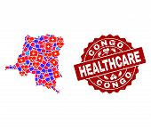 Healthcare Composition Of Bright Medical Mosaic Map Of Democratic Republic Of The Congo And Scratche poster