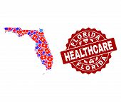 Healthcare Composition Of Bright Medical Mosaic Map Of Florida State And Scratched Seal. Vector Red  poster