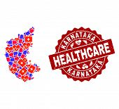 Healthcare Collage Of Bright Medical Mosaic Map Of Karnataka State And Scratched Seal. Vector Red Se poster
