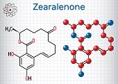 Zearalenone (zen) Mycotoxin Molecule. Sheet Of Paper In A Cage. Structural Chemical Formula And Mole poster