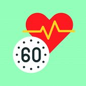Heart Rate And Vital Sign, Medical And Hospital Related Flat Design Icon Set. poster