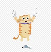 Vector Illustration Of Cute Cartoon Ginger Cat Character Escaping Of Mouse poster