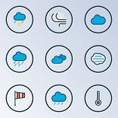 Climate Icons Colored Line Set With Cloudy Day, Cloudburst, Clouded And Other Tempest Elements. Isol poster