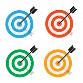 Targets Icon On White Background. Flat Style. Target Concept Icon For Your Web Site Design, Logo, Ap poster