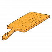 Cutting Board. Vector Of Wooden Cutting Board. Hand Drawn Kitchen Cutting Board. poster
