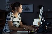 Young businesswoman in casual clothing working on desktop computer making business plan. Beautiful t poster