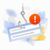 Password Phishing Alert Vector Illustration. Login And Password Block On A Big Symbolic Hook With An poster