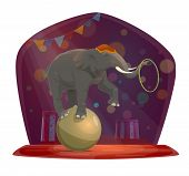 Chapiteau Circus, Elephant On Ball Holding Hoop With Trunk. Vector Show On Stage, Arena In Glimmer S poster