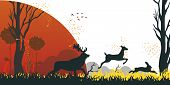 Illustration Cartoon Animal Escaping From Danger. Vector Image Group Deer And Hare Flees From Danger poster