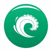 Wave Water Surfing Icon. Simple Illustration Of Wave Water Surfing Vector Icon For Any Design Green poster