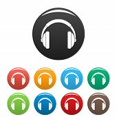 Rap Headset Icons Set 9 Color Isolated On White For Any Design poster