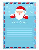 Template Letter To Santa Claus. Empty Form For The Desires Of Gifts. poster
