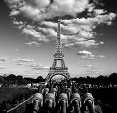 Cannons In Front Of The Trocadero Palace Called Palais De Chaillot In French Languageand The Eiffel  poster