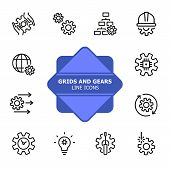 Grids And Gears Line Icons. Set Of Line Icons On White Background. Technology Concept. Control, Inte poster