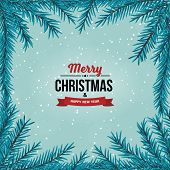 Fir Branches Frame On The Cyan Color Background With Falling Snow. New Year And Merry Christmas Labe poster