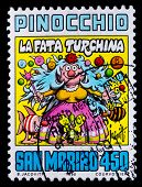 San Marino - CIRCA 1990: A postage stamp printed in San Marino showing the Pinocchio cartoon, circa