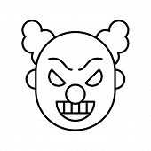 Scary Clown Or Joker, Halloween Character Icon Editable Stroke poster