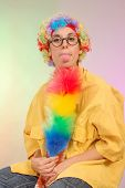 stock photo of clown rose  - funny portrait of young woman - JPG