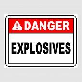 Plate: danger. Explosives. Sign: danger. Explosives On A Gray Background poster
