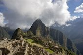 Machu Picchu In Peru - Lost City Of Incan Empire Is Unesco Heritage. Sunny Summer Day With Blue Sky  poster