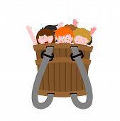 Pannier With Naughty Children. Bad Kids In Box. Krampus Basket  poster