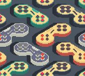 Gamepad Pixel Art Pattern Seamless. Joystick 8bit Background. Video Game Old School Control Lever poster