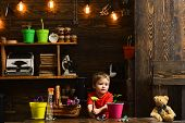 Planting Concept. Little Boy With Gardening Tools For Planting. Planting A Flower In Pot. Hand Plant poster
