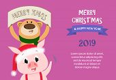 Merry Christmas And Happy New Year Sample Violet Banner Design. Inscription With Piglet And Bear On  poster