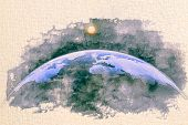 Stylized By Watercolor Sketch Painting Of World Map Silhouette Dome Of The Planet Earth In An Outer  poster