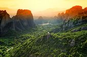 stock photo of evangelism  - Sunset light over Meteora Monasteries - JPG