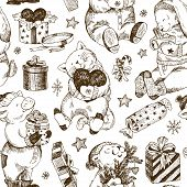 Christmas Seamless Pattern, Bear, Rabbit, Kitten, Pig And Gifts With Stars And Moon, Snowflakes. Win poster