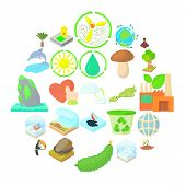Pure Nature Icons Set. Cartoon Set Of 25 Pure Nature Icons For Web Isolated On White Background poster