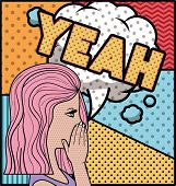 Woman Saying Yeah Pop Art Style Vector Illustration Design poster