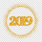 Happy New Year Shiny Gold Number 2019, Circle Frame. Golden Glitter Border Isolated White Transparen poster
