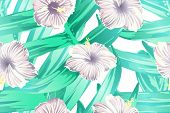 Cyan Exotic Pattern. Monstera And Hibiscus Flowers Tropical Bouquet. Saturated Large Floral Swimwear poster