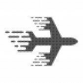 Airplane Halftone Dotted Icon With Fast Speed Effect. Vector Illustration Of Airplane Designed For M poster