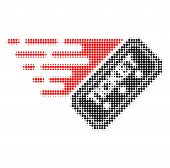 Ticket Halftone Dotted Icon With Fast Speed Effect. Vector Illustration Of Ticket Designed For Moder poster