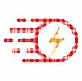Electric Spark Halftone Dotted Icon With Fast Speed Effect. Vector Illustration Of Electric Spark De poster