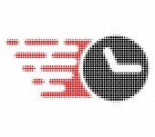 Clock Halftone Dotted Icon With Fast Speed Effect. Vector Illustration Of Clock Designed For Modern  poster