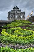Macao landmark, ruins of St. Paul's Cathedral with green park in night in Macau, China. poster