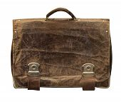 Leather Briefcase Isolated On White Phoneme. Old Shabby Leather Briefcase . poster